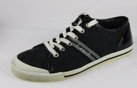 Coach Womens Sneakers Black Silver Logo Canvas Leather Size 6.5 B - $17.68