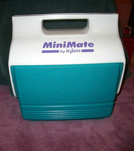 Igloo Mini Mate Cooler Vintage Lunchbox Size Teal White Purple 6 Pack Rare Retro - $33.47