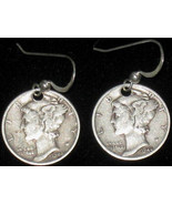 ANTIQUE LIBERTY MERCURY DIME STERLING SILVER VINTAGE DANGLE COIN EARRINGS - $14.84