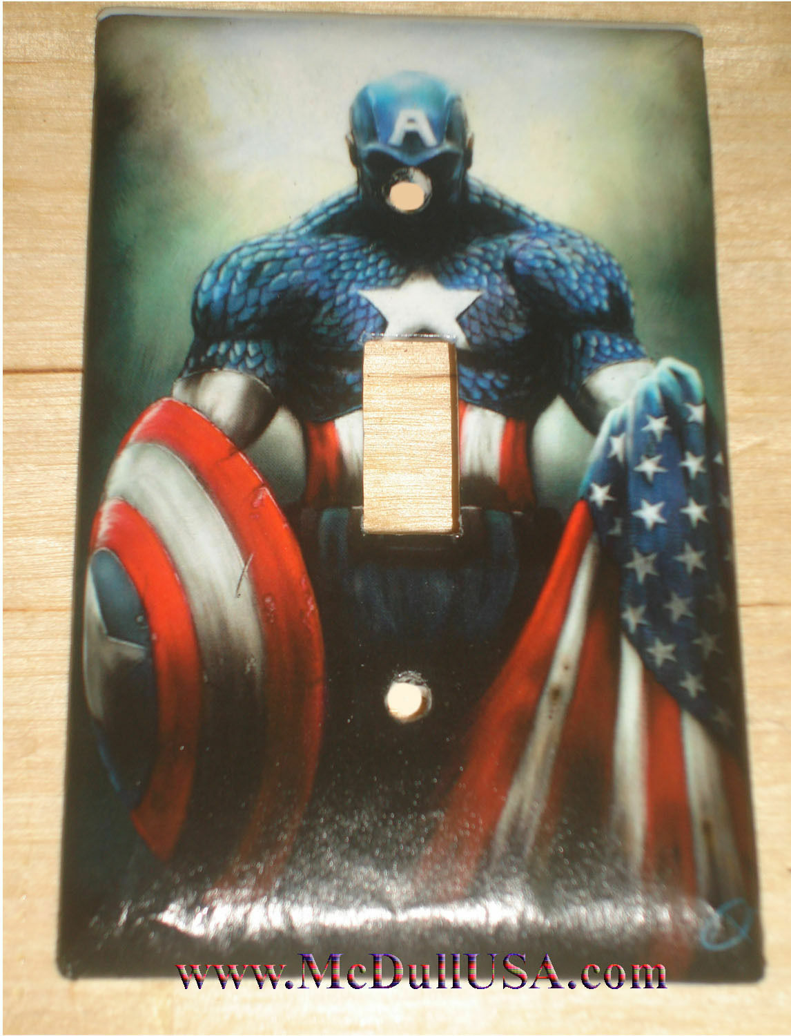 Captain America Light Switch Power Outlet Single Double Wall Cover Plate decor