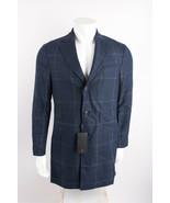 Massimo Dutti Mens Wool Coat Sz US 38 EU 48 Blue Check Slim Fit 2052/312... - $197.01