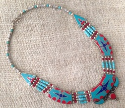 Vintage Turquoise Coral Lapis Beaded Necklace  - $35.00
