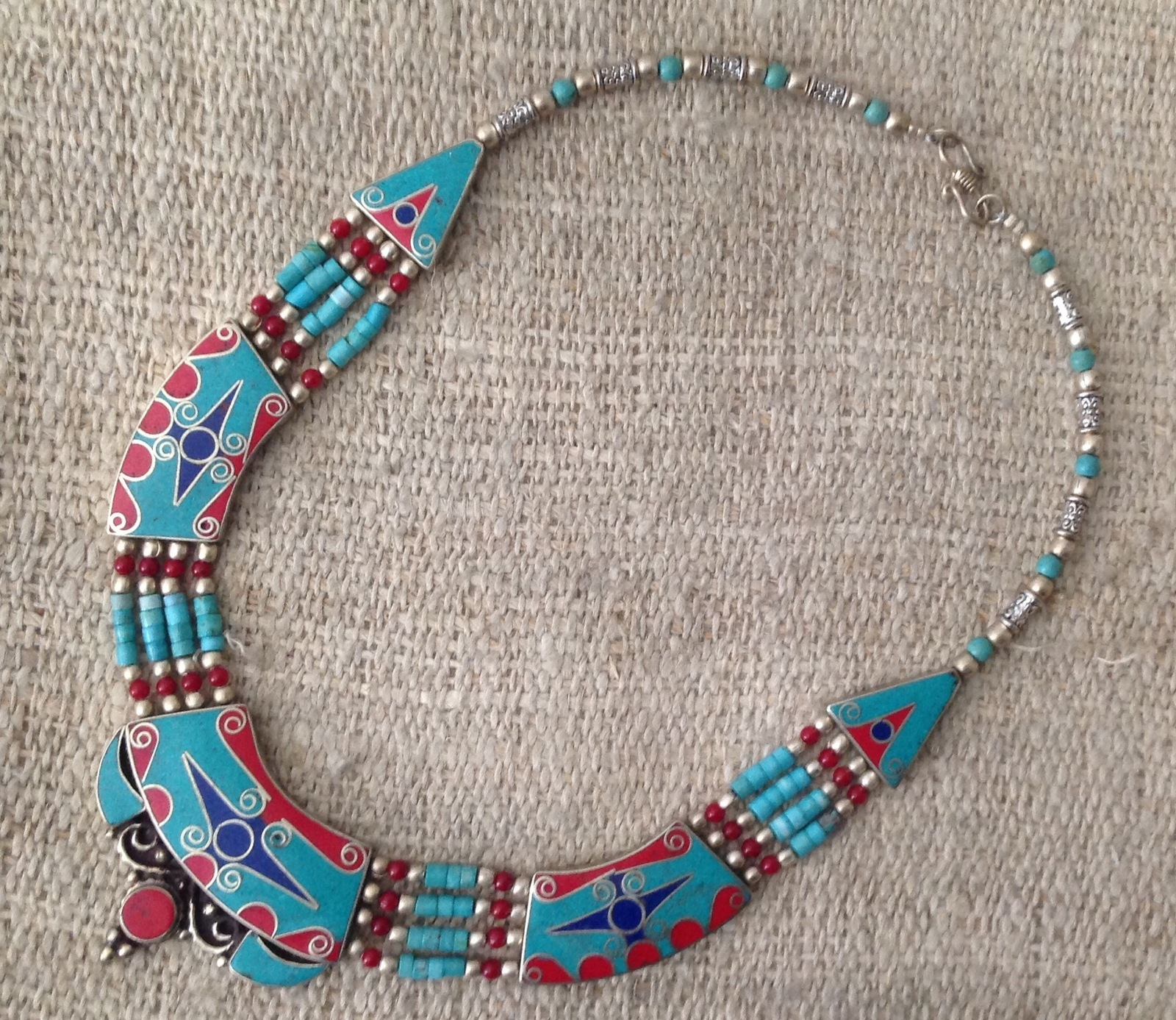 Vintage Turquoise Coral Lapis Beaded Necklace