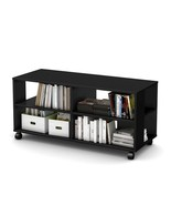 Black-Media-Stand-Rolling-TV-Cart-Shelf-Storage... - $160.29
