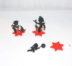 3 WOODEN SILHOUETTE ANGELS ON A STAR BASE RED A... - $23.38