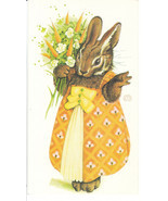Vintage Easter Card Bunny Rabbit in a Dress Gor... - $8.90