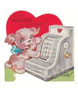 Vintage Valentine Card Terrier Dog and Cash Reg... - $5.93