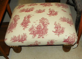 Red White Toille Print Ottoman Footstool Stool  (ST95) - $199.00