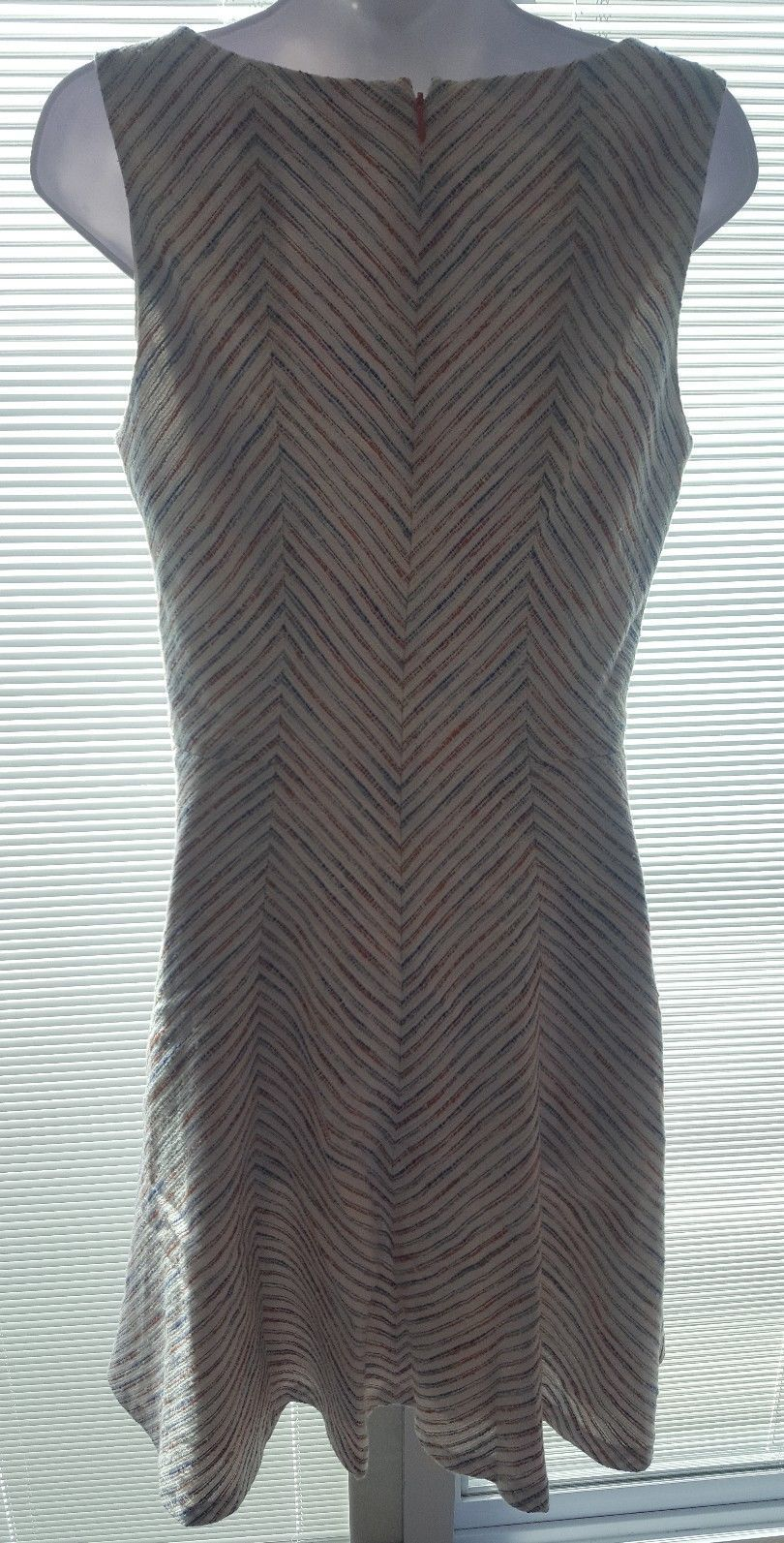 Tommy Hilfiger Women Beige Blue Striped Flare Sleeveless Dress Cotton Blend 8 image 3