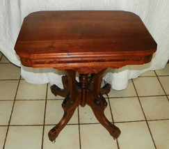 Solid Walnut Carved Parlor Table / Center Table with Burl Walnut Panels  (T169) - $599.00