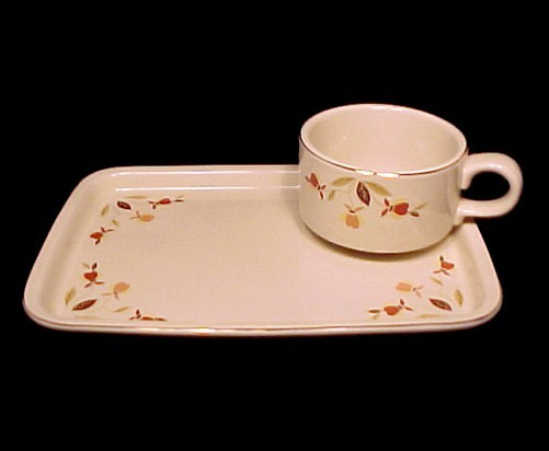 Autumn Leaf Cup Plate Snack Set Hall China Jewel Tea - $124.95