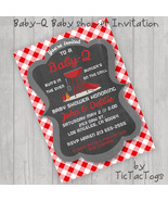 Baby-Q BBQ Chalkboard Gingham Baby Shower Invitations Invite UPrint Pers... - $9.99