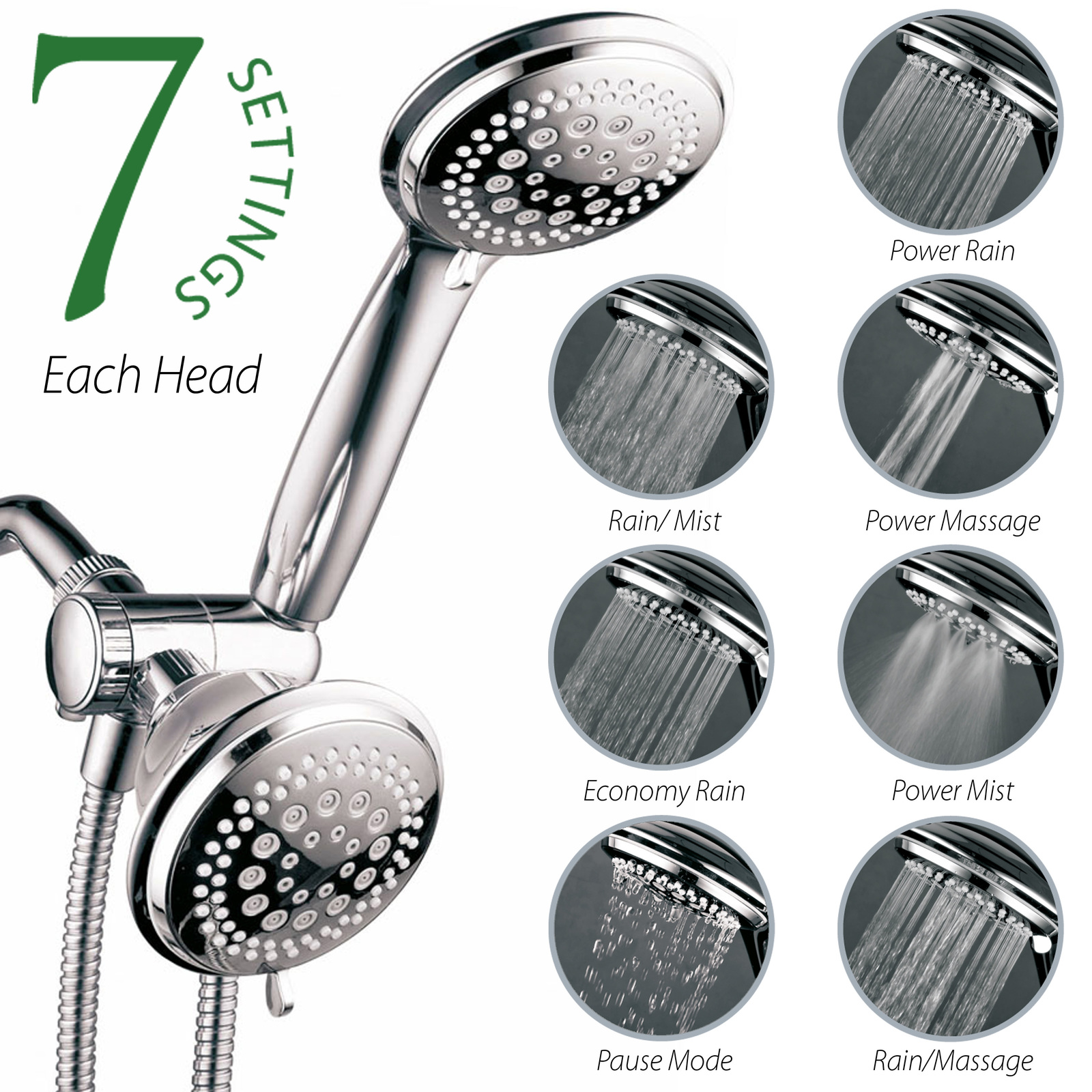 Primary image for HotelSpa 3-Way 36-Setting Shower Head / Handheld Shower Combo (Premium Chrome)