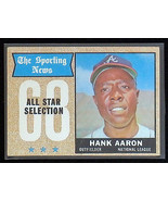 1968 Topps #370 Hank Aaron All Star Atlanta Braves Baseball Card, EX 5, 80/20 - $17.77