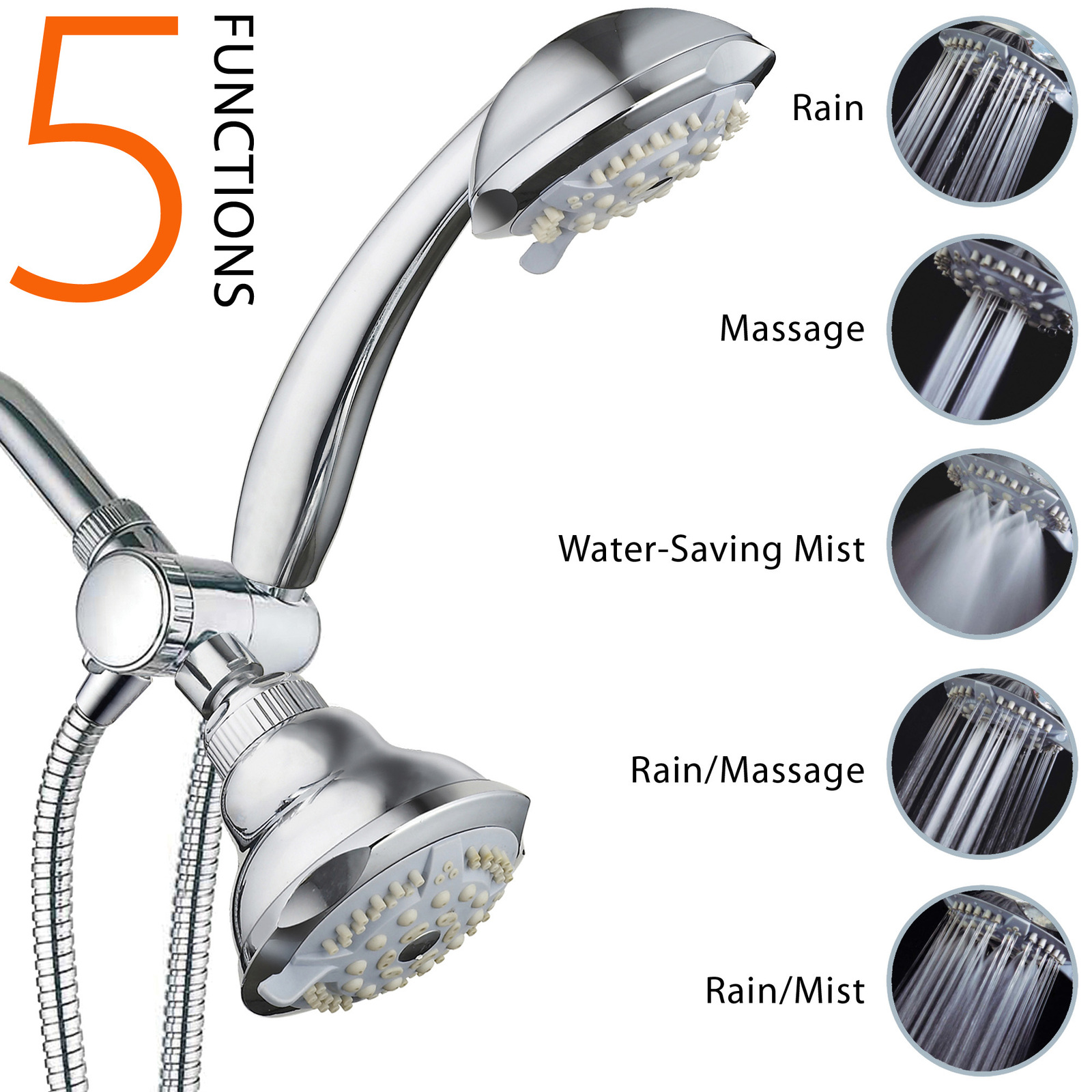 Primary image for DreamSpa Luxary 19-Setting 3-Way Oversize 4-inch Shower Head / Hand Shower Combo