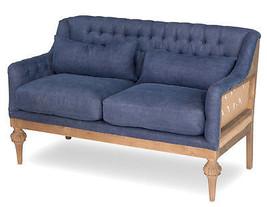 "53"" Sofa Vintage Denim Jute Soft Tufted Style,Birch Wood,Fabulous! - $1,579.05"