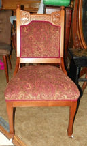 Walnut Carved Parlor Chair Sidechair red gold  (SC15) - $349.00