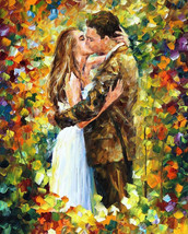 Romantic Kiss - oil painting by Leonid Afremov - $139.00