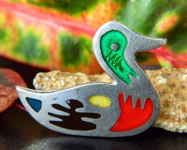 Vintage Taxco Mexico Mallard Duck Brooch Pin 925 Sterling Silver - $19.95
