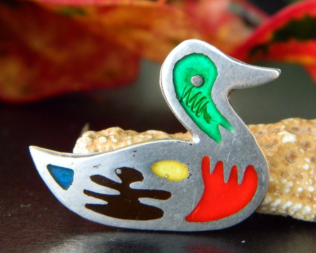 Vintage Taxco Mexico Mallard Duck Brooch Pin 925 Sterling Silver