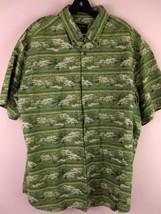 Woolrich Shirt XL Green Fish Design Short Sleeve Button Down Extra Large... - $39.99