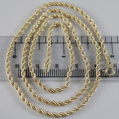 18K YELLOW GOLD CHAIN NECKLACE, BRAID ROPE MESH 23.62 INCHES 60 CM MADE IN ITALY