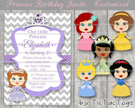 Princess Birthday Invitations Invite You Print Personalized Chevron Bell... - $9.99