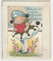 Vintage Valentine Card Girl Do You Want My Heart 1920's Die Cut - $8.90