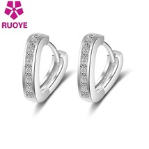 Fashion Silver Single Luxury Row Crystal Heart Stud Earrings Jewelry Sim... - $8.13