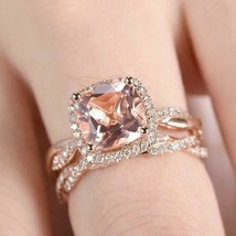 3.75Ct Cushion Cut Morganite Bridal Halo Engagement Ring 14K Rose Gold F... - $101.24