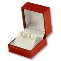 Cartier Style Stud Earring Box Red Leatherette - $6.67