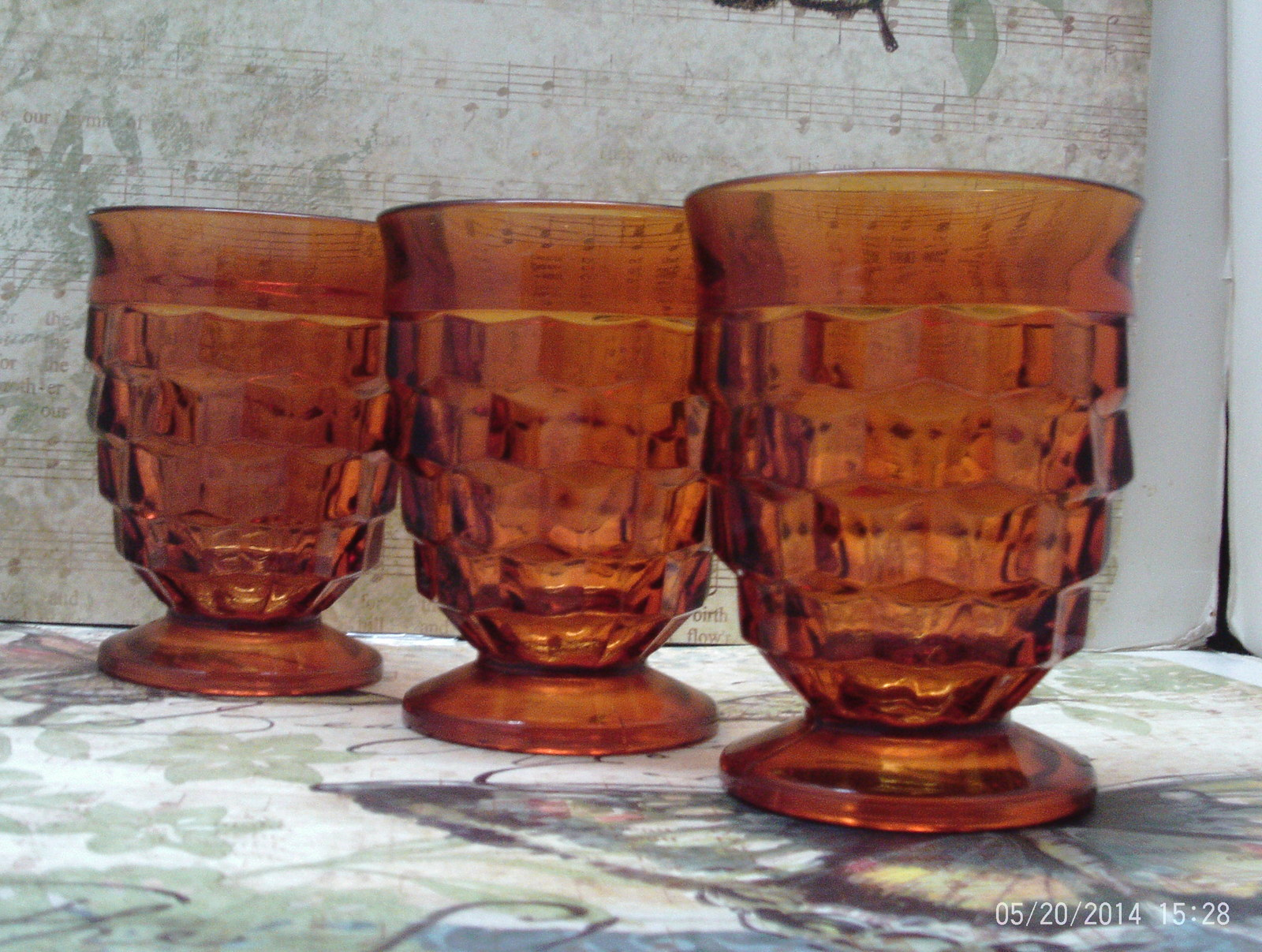 Vintage Set of Three Amber Indiana Glass Whitehall Pattern Medium Tumblers