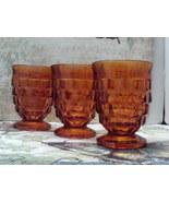 Vintage Set of Three Amber Indiana Glass Whitehall Pattern Medium Tumblers - $9.00