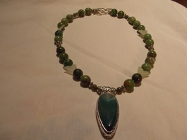 Hand made, one of a kind beaded necklace  Chrys... - $59.00