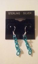 Handmade Sterling Silver Metallic Blue Chain Link Dangle Earrings  - $6.99