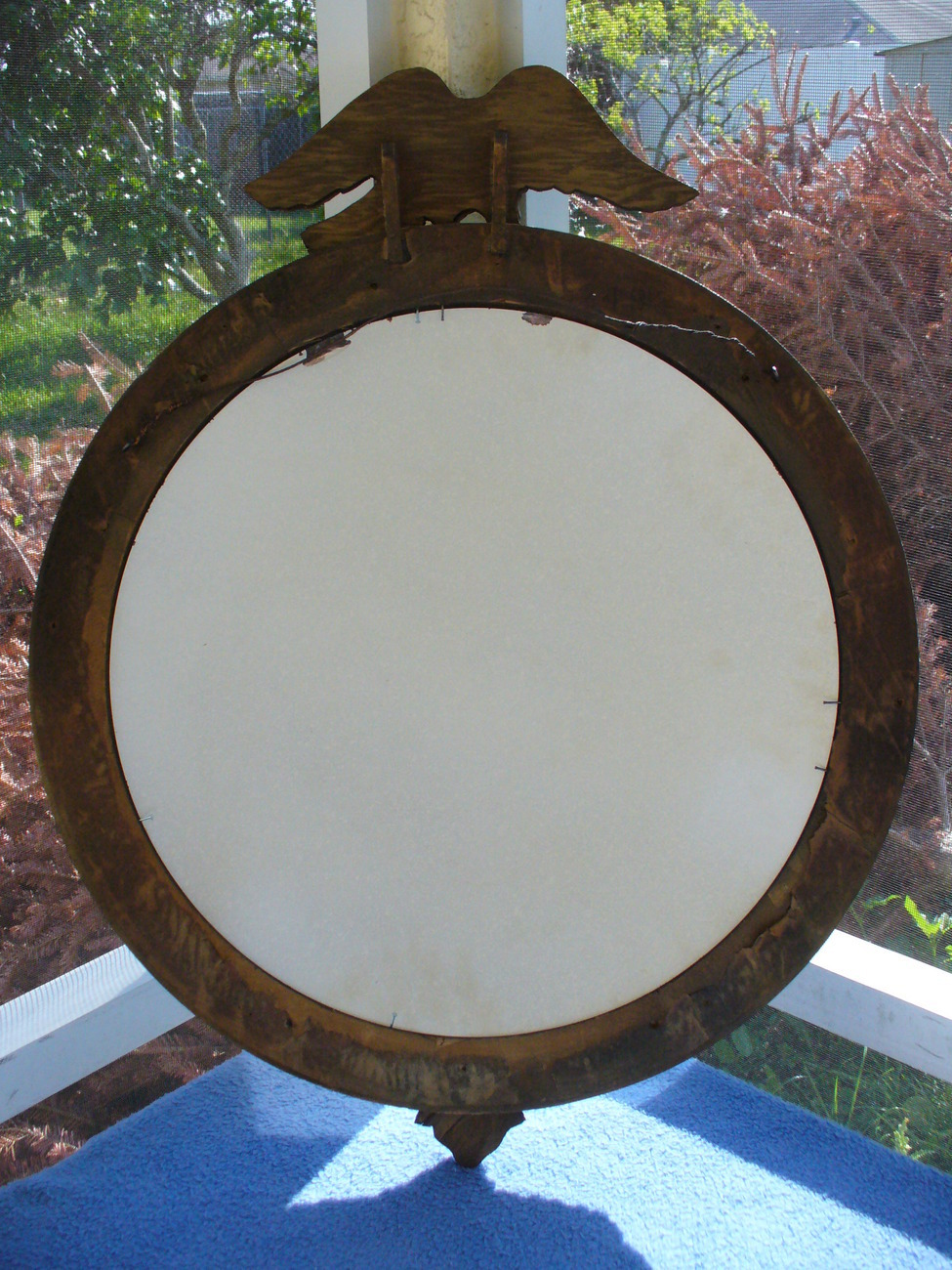 Antique Wooden Carved Round Convex Bubble Glass Mirror