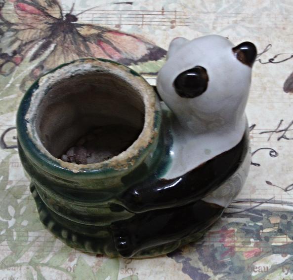 Vintage Mid Century Panda Bear Bamboo Tree/Plant Planter // Bear Vase