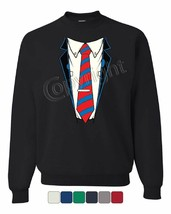 Shirt and Tie Sweatshirt Office Suit Casual Funny Sweater - $12.89+