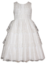Little Girls 2T-6X Tiered Lace Communion Flower Girl Dress