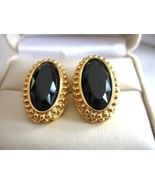SWAROVSKI Pierced Earrings Black Gold Tone Swan... - $14.69