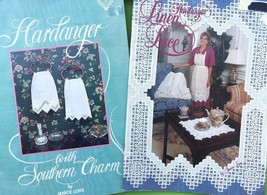 Hardanger Embroidery Pattern Book Lot Southern Charm Linen Lace by Janic... - $33.66