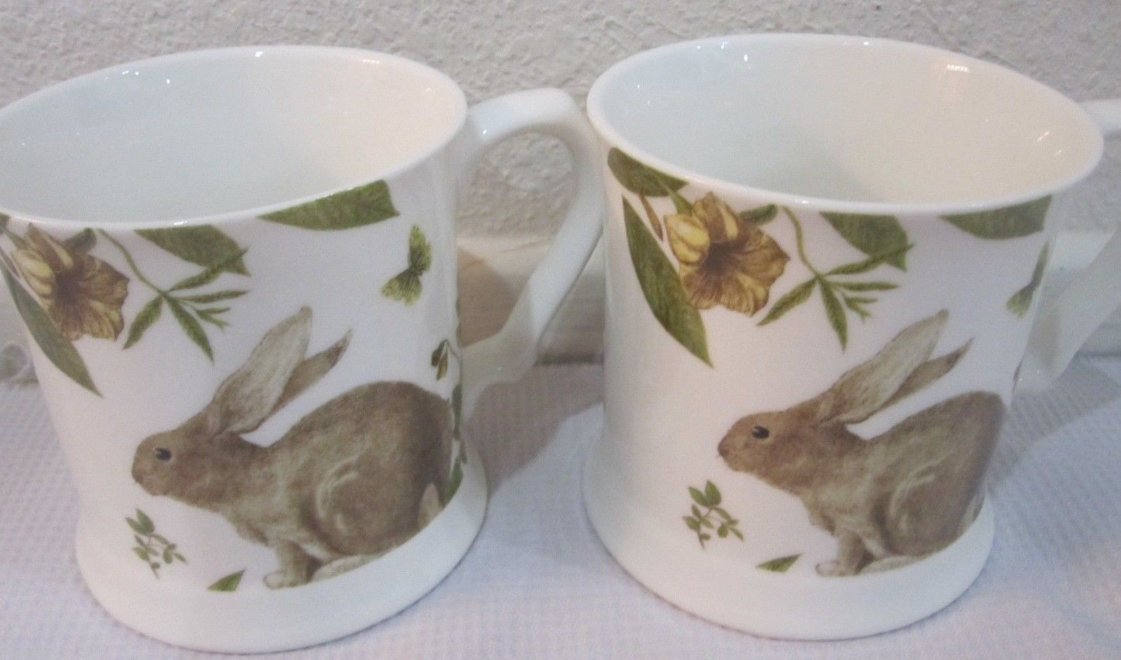 Primary image for GRACE TEA WARE EASTER BUNNY RABBIT COFFEE CUPS MUGS SET OF 2