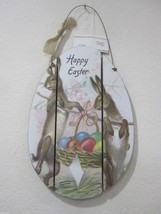 "Primitive Easter Wood Sign Decorations ""Happy Easter"" Rabbit NEW 15.75"" ... - $19.99"