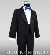 Formal Kids Tuxedo in Black with Tail comes with a Royal Blue and Black Bow Tie - $32.99+