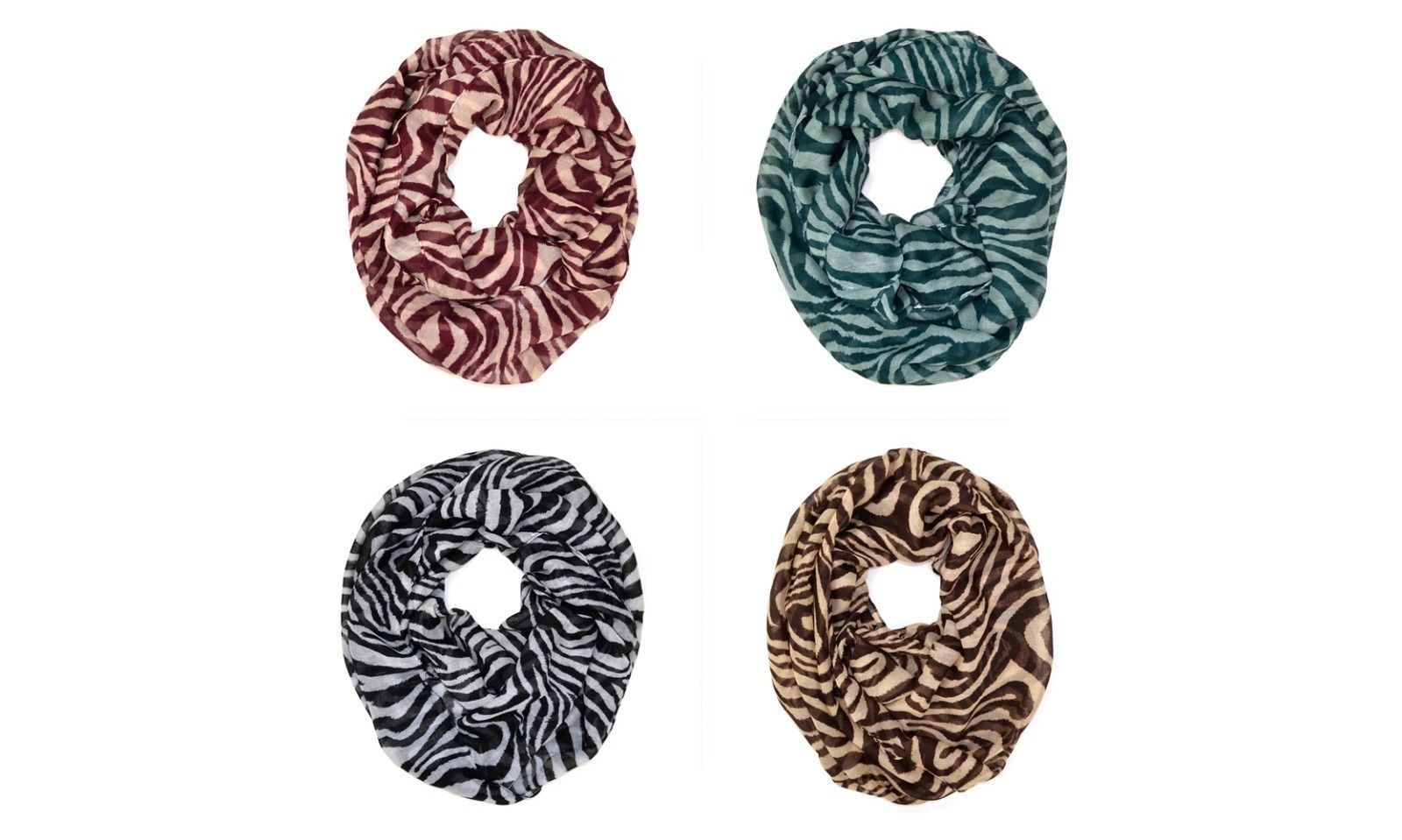 Primary image for Zebra Animal Print Stripe Block Circle Loop Wrap Infinity Scarf Multi Color Soft