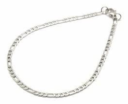 "3mm Men's Women's Stainless Steel Figaro Chain Bracelet 8"" Lobster claw s125 - $2.69"