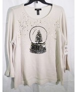 Style & Co women plus size long sleeve top holiday pales snow glob white 2X - $36.62