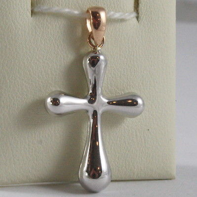 SOLID 18K WHITE & ROSE GOLD CROSS, SHINY, STYLISH ROUNDED 1.18, MADE IN ITALY