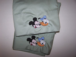 Set of Embroidered Disney Mickey Mouse Donald Duck Pillowcases Ready Ship - $25.00