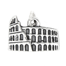 New Sterling Silver Solid Colosseum Charm Pendant - $11.29